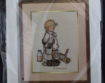Vintage Hummel Needle Treasures, Vintage Needlepoint Kit, Vintage Needle Point Kits, Needlework Kits, Stitchery Kit, Gift for Doctor