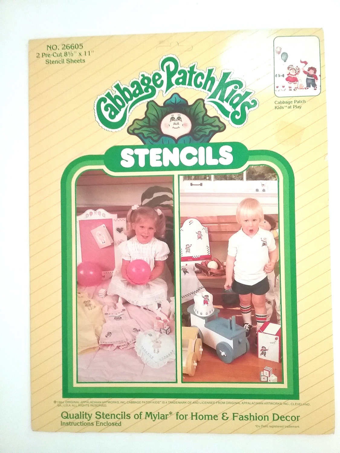 Vintage cabbage patch kids stencils stencil templates Vintage childrens room decor