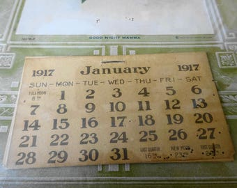 """1917 Mother and Child Advertising Calendar 7"""" x 11""""  William A. Maggert Grocery"""
