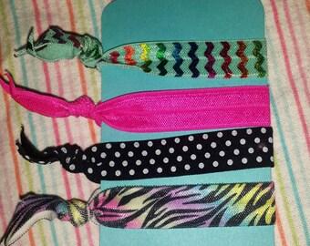 Rainbow zebra print hair ties set of 4