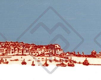 Limited print on block by mporium artist MP. St Ives Harbour FREE SHIPPING