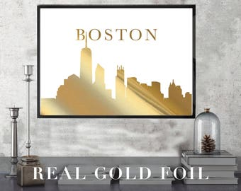 Boston Landmark Print // Real Gold Foil // Minimal // Gold Foil Art Print // Home Decor // Modern Office Print // Skyline // Fashion Print