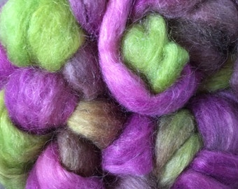 Hand Dyed Mohair Roving in Colorway GRAPES & BOWL