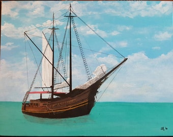 Aruba ship Jolly Pirate print of original painting