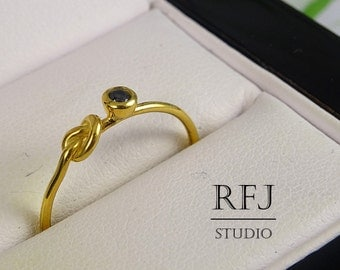 Yellow Gold Plated Knot Lab Black Diamond Ring, CZ 2 mm 24K Gold Plated Silver Knotted Ring Simulate Black Diamond Love Promise Gold Ring