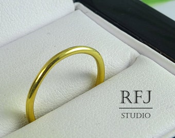 Yellow Gold Plated Stackable Silver Ring, Round Band Ring, Polished Ring, Stackable 24K Gold Plated Ring, Minimalistic Ring Simply Thin Ring