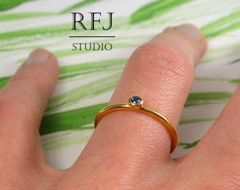 Lab Sapphire 24K Gold Plated Ring, 2 mm Blue Corund September Birthstone Yellow Gold Plated Ring, Sapphire Gold Ring, Gold  Silver Ring