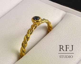 24K Gold Flat Rope Lab Black Diamond Ring, Yellow Gold Plated April Birthstone CZ Ring, 2 mm Cubic Zirconia Gold Plated Flat Braided Ring