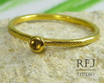 Natural Citrine Dainty Textured Golden Ring, November Birthstone 2mm Round Cut Yellow Citrine Ring 24K Yellow Gold Plated Citrine Stack Ring