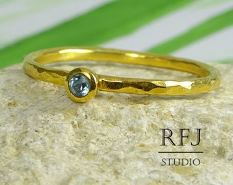 Gold  Natural Swiss Topaz Hammered Ring, 24K Yellow Gold Plated December Birthstone Ring, 2 mm Round Swiss Blue Topaz Golden Stack Ring