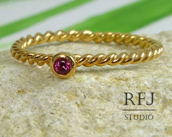 Rose Gold Plated Rope Lab Ruby Ring, July Birthstone Ring, 14K Rose Gold Plated Pink 2 mm Corund Ring, Twisted Rose Gold Gemstone Rings