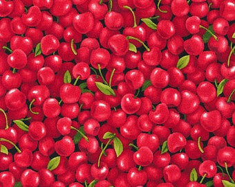 "Fruit Fabric, Cherry Fabric: NEW Fabri-Quilt Farmer John's Garden Party Cherries 100% cotton fabric by the yard 36""x43"" (D257)"