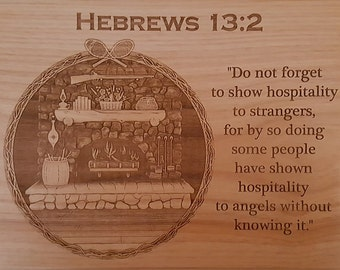 Laser Engraved 3D Country Fireplace on Premium Alder with Bible Verse and Edge of Choice