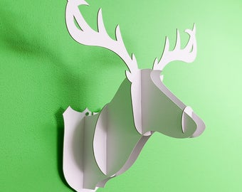 Deer head made of white cardboard. Great wall decoration design for any interior! Design gift idea.
