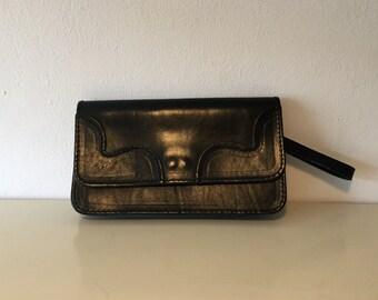 Handbag Black leather retro handbag zwart leren vintage handtas met polsband avond tas