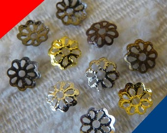 Bead Caps, Filigree Bead Caps, 6mm Flower End Spacers, Gold Silver Mixed Color Bead Caps, Metal Bead Caps, Beading Supplies