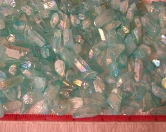 Aqua Aura Quartz crystal drilled for stringing 20 piece lot