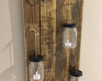 Rustic barn board mason jar candle wall decor, rustic reclaimed wood jar candle