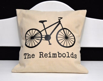 Personalized Bike Pillow, Family Name Bicycle Pillow, novelty throw pillow, pillow gift, bike gift, urban bike pillow, modern home decor