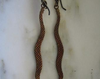Vintage Copper Snakes Dangle Pierced Earrings