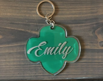 trefoil keychain personalized with name and troop #