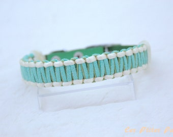 Adjustable dog collar green and pale yellow