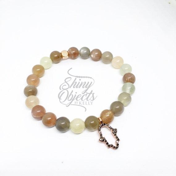 Sunstone Bracelet with Rose Gold and Dark Crystal Hamsa Charm
