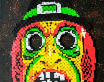 Witch mask (Ben Cooper) perler on canvas