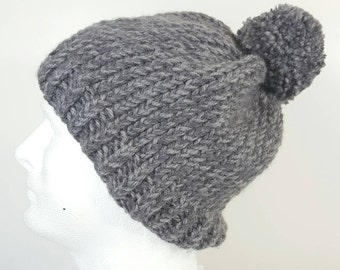 Woman's Simple Slouchy Beanie in Tonal Grey, grey hat, beanie with pompom, hipster beanie, Slouchy grey hat.