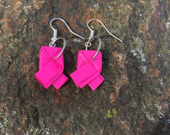 Pink Ribbon Origami earrings.Origami Jewelry.Paper Jewelry