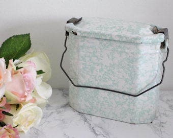 Vintage French Mint Enamel Lunch Box/Lunch Pail