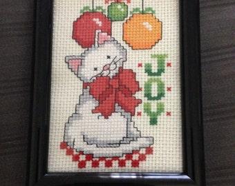 3.5x5 Finished Christmas Cat Cross Stitch