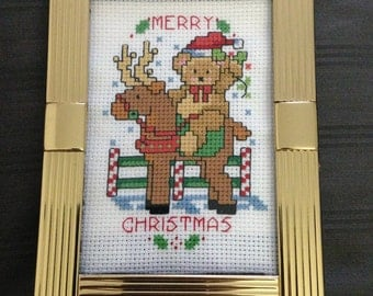 4.5x6 Finished Christmas Teddy Bear Riding a Reindeer Cross Stitch