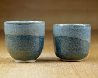 Set of Two Handless Mugs, Small Coffee Cups, Small Pottery Cups, Handmade Stoneware Teacups, Ceramic Tumblers