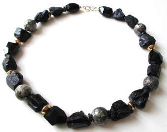 black tourmaline bling necklace
