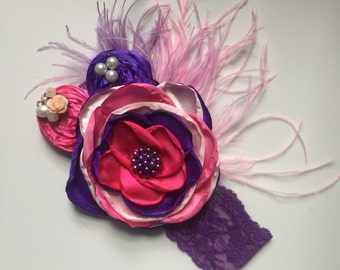 Plum Rose Headband
