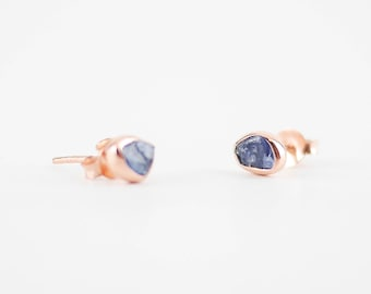 Sapphire Rose Gold Earrings Studs | Rose Gold Earrings | Sapphire Earrings | Raw Sapphire Stones | Anniversary Gifts | Bridesmaid Gifts