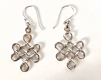 Sterling Silver Celtic Criss Cross Earrings/Handmade/Solid Silver