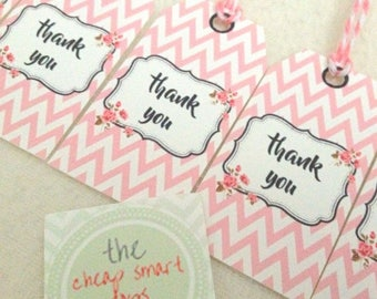 Thank you tags, Printable tags, Personalized handmade tags, Gift tags, Favor tags, Customized tags, Name tags, Printable thank you JPEG PNG