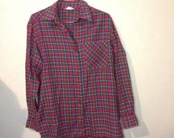 grunge long-sleeved red tartan button up shirt -12