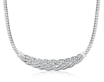 Platinum plated fancy necklace