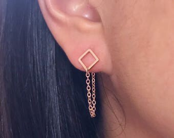 Rose gold square earrings with chain