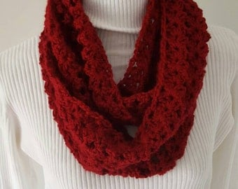Red Crocheted Scarf