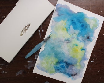 Handmade Cool Toned Colored Abstract Original Watercolor Painting Unframed Wall Art On Watercolor Paper by Allie Bigoness