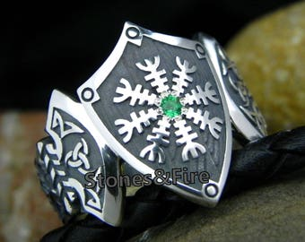 Helm of Awe AEGISHJALMUR Ring Heathen Symbol Sterling Silver Old Norse Viking Jewelry
