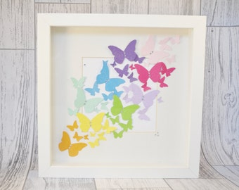 Butterfly Gifts, Butterfly Picture, Rainbow, Box Frame, Shadow Box, Wall decoration, Home Decor, Rainbow Art, Gift For Her