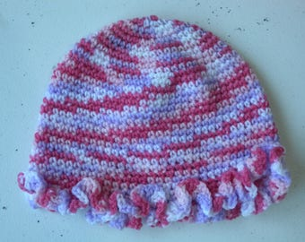 Crochet beanie with frilled edge in shades of pink 1-2 year old