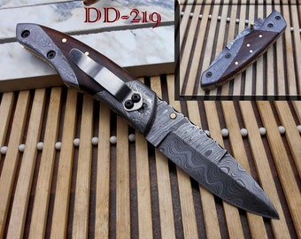 "8"" long Damascus steel custom made Folding Knife with pocket clip, Wood & Damascus scale 3.5"" Hand Forged blade cow hide leather sheath"
