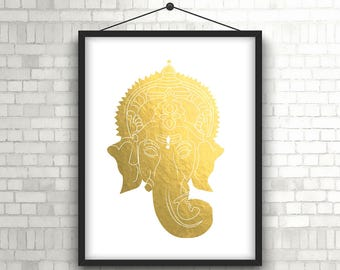 Ganesha Wall Art// Ganesh Digital Print// Ganesh Gold Art//Printable Ganesha Art// Printable Ganesha Wall Art// Printable Ganesha Design
