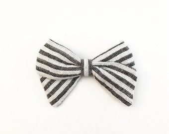 Grey Striped Bow - Classic Bow - Baby Bows - Baby Hair Clips - Baby Headbands - Toddler Headband - Baby Hair Bows - Hair Bows